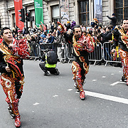 The Annual London New Year Parade with hundreds of American bands and cheerleaders on 1st January 2019 through Center London,UK. Photo by Picture Capital
