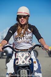"""Brittney Olsenon on the Matt Olsen built """"One of One"""" Harley-Davidson at the Race of Gentlemen. Wildwood, NJ, USA. October 11, 2015.  Photography ©2015 Michael Lichter."""