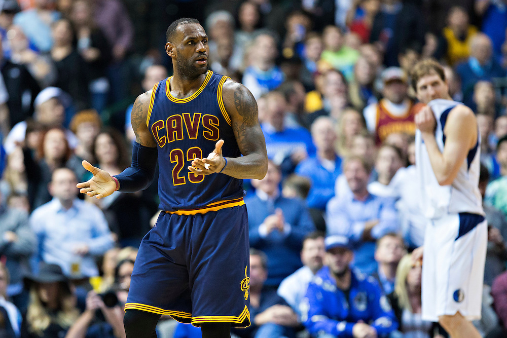 DALLAS, TX - JANUARY 12:  Lebron James #23 of the Cleveland Cavaliers reacts to a referee call during a game against the Dallas Mavericks at American Airlines Center on January 12, 2016 in Dallas, Texas.  NOTE TO USER: User expressly acknowledges and agrees that, by downloading and or using this photograph, User is consenting to the terms and conditions of the Getty Images License Agreement.  The Cavaliers defeated the Mavericks 110-107.  (Photo by Wesley Hitt/Getty Images) *** Local Caption *** Lebron James