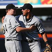 NEW YORK, NEW YORK - June 01:  Pitcher Matt Albers #34 of the Chicago White Sox is congratulated by team mate, Jose Abreu #79 of the Chicago White Sox after the teams win in the thirteenth inning during the Chicago White Sox  Vs New York Mets regular season MLB game at Citi Field on June 01, 2016 in New York City. (Photo by Tim Clayton/Corbis via Getty Images)