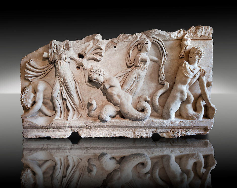 2nd Cent. AD Roman relief sculpture depicting Gigantomachy, the battle between the gods & the giants. From Aphrodisias (Geyne, Ayden), Turkey. Istanbul Archaeological Museum, Turkey, Inv. 1613T , Cat. Mendel 511. .<br /> <br /> If you prefer to buy from our ALAMY STOCK LIBRARY page at https://www.alamy.com/portfolio/paul-williams-funkystock/greco-roman-sculptures.html- Type -    Istanbul    - into LOWER SEARCH WITHIN GALLERY box - Refine search by adding a subject, place, background colour, museum etc.<br /> <br /> Visit our CLASSICAL WORLD HISTORIC SITES PHOTO COLLECTIONS for more photos to download or buy as wall art prints https://funkystock.photoshelter.com/gallery-collection/The-Romans-Art-Artefacts-Antiquities-Historic-Sites-Pictures-Images/C0000r2uLJJo9_s0c