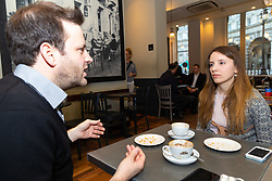 Bild journalist Philip Fabian talks with Marina Gerner, 30, a German journalist who works in London and who has become a British national. London, January 14 2019.