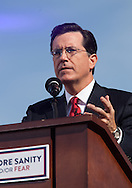 """Steve Colbert Hosting  the """"Rally to Restore Sanity And/Or Fear""""  in Washington DC. A crowd estimated  between 100,000- 200,000  came from across America to the National Mall on October 30, 2010 before the midterm elections to participate in the """"Rally to Restore Sanity And/Or Fear"""" . Jon Stewart insisted the rally was not a political event, however; the audience had messages of their own on hand made signs for the occasion, many with a political message."""