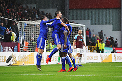 March 16, 2019 - Burnley, Lancashire, United Kingdom - BURNLEY, UK 16TH MARCH Leicester City's Wes Morgan celebrates with Jonny Evans and Ben Chilwell after scoring their second goal during the Premier League match between Burnley and Leicester City at Turf Moor, Burnley on Saturday 16th March 2019. (Credit: Mark Fletcher   MI News) (Credit Image: © Mi News/NurPhoto via ZUMA Press)