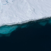 The edge of a lead shows the ice formation below the surface. Beaufort Sea, Alaska.