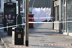 © Licensed to London News Pictures. 27/02/2019. London, UK. The scene at Cranbrook Road by Ilford Station, where a 20-year-old man was fatally stabbed last night. A murder investigation has been launched. Photo credit: Rob Pinney/LNP