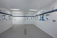 Architectural interior photo of Locker Room Shower in Cordish Lacrosse Center at Johns Hopkins University by Jeffrey Sauers of Commercial Photographics