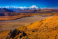 View of Mount Denali (McKinley), Muldrow Glacier, and Thorofare River, from Thoro Ridge. Denali National Park & Preserve, Alaska, Autumn.
