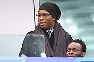 Chelsea legend Didier Drogba in the stands. Premier league match, Chelsea v Arsenal at Stamford Bridge in London on Saturday 4th February 2017.<br /> pic by John Patrick Fletcher, Andrew Orchard sports photography.