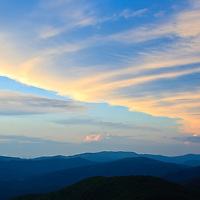 Sunset clouds and mountain ridges, Little Stony Man cliffs, Shenandoah National Park, Virginia.