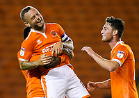 Blackpool's Marc Bola lifts up goalscorer Jay Spearing in celebration<br /> <br /> Photographer Alex Dodd/CameraSport<br /> <br /> The Carabao Cup Third Round - Blackpool v Queens Park Rangers - Tuesday September 25th 2018 - Bloomfield Road - Blackpool<br />  <br /> World Copyright © 2018 CameraSport. All rights reserved. 43 Linden Ave. Countesthorpe. Leicester. England. LE8 5PG - Tel: +44 (0) 116 277 4147 - admin@camerasport.com - www.camerasport.com