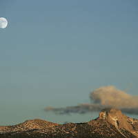 The moon rises over the Clark Range Yosemite's backcountry.