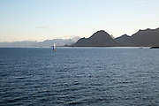 Sailing yacht boat in the Lofoten Islands, Norway