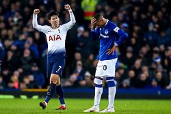 Son Heung-Min of Tottenham Hotspur celebrates scoring a goal to make it 1-1 as Richarlison of Everton cuts a dejected figure - Mandatory by-line: Robbie Stephenson/JMP - 23/12/2018 - FOOTBALL - Goodison Park - Liverpool, England - Everton v Tottenham Hotspur - Premier League