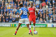 Fleetwood Town Defender, Amari'i Bell (3) takes on Portsmouth Forward, Jamal Lowe (18) during the EFL Sky Bet League 1 match between Portsmouth and Fleetwood Town at Fratton Park, Portsmouth, England on 16 September 2017. Photo by Adam Rivers.