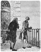 Luigi Galvani (1737-1798) Italian physiologist, c1762. Galvani discovered anmial electricity, voltaic or galvanic electricity, when  investigating contraction of muscles in legs of dead frogs as shown in this illustration.  From 'Le Journal de la Jeunesse', (Paris, 1880).  Engraving.