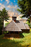 """The orthodox  Wood Churches ( Biserica de lemn ) - The """" Adormirea Maicii Domnulu"""" Susani . Maramures, Northern Transylvania, Romania. .<br /> <br /> Visit our ROMANIA HISTORIC PLACXES PHOTO COLLECTIONS for more photos to download or buy as wall art prints https://funkystock.photoshelter.com/gallery-collection/Pictures-Images-of-Romania-Photos-of-Romanian-Historic-Landmark-Sites/C00001TITiQwAdS8<br /> .<br /> Visit our MEDIEVAL PHOTO COLLECTIONS for more   photos  to download or buy as prints https://funkystock.photoshelter.com/gallery-collection/Medieval-Middle-Ages-Historic-Places-Arcaeological-Sites-Pictures-Images-of/C0000B5ZA54_WD0s"""
