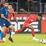 EAST HARTFORD, CONNECTICUT- October 16th:   Yordy Reyna #26 of Peru defended by Cameron Carter-Vickers #5 of the United States during the United States Vs Peru International Friendly soccer match at Pratt & Whitney Stadium, Rentschler Field on October 16th 2018 in East Hartford, Connecticut. (Photo by Tim Clayton/Corbis via Getty Images)