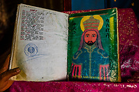 An antique book, Bete Maryam (St. Mary's Church), one of 11 rock hewn churches in Lalibela, Ethiopia.