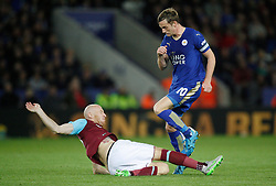 James Collins of West Ham United (L) and Andy King of Leicester City in action  - Mandatory byline: Jack Phillips/JMP - 07966386802 - 22/09/2015 - SPORT - FOOTBALL - Leicester - King Power Stadium - Leicester City v West Ham United - Capital One Cup Round 3