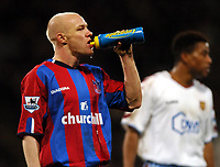 Photo: Javier Garcia/Back Page Images Mobile 07887 794393<br />03/01/2005 Crystal Palace v Aston Villa, FA Barclays Premiership, Selhurst Park<br />A well earned drink for Palace hero Andy Johnson