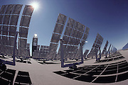 Solar energy: Solar Power Tower. Computer Operated Reflectors operated by Sandia National Laboratories for the U.S. Department of Energy (DOE), the National Solar Thermal Test Facility (NSTTF) is the only test facility of this type in the United States. The primary goal of the NSTTF is to provide experimental engineering data for the design, construction, and operation of unique components and systems in proposed solar thermal electrical plants planned for large-scale power generation. Albuquerque, New Mexico. (1980).
