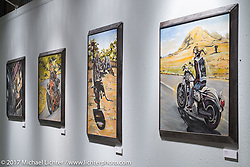 Oil paintings by Kayla Koeune on display in the Old Iron - Young Blood exhibition in the Motorcycles as Art gallery at the Buffalo Chip during the annual Sturgis Black Hills Motorcycle Rally. Sturgis, SD. USA. Tuesday August 8, 2017. Photography ©2017 Michael Lichter.