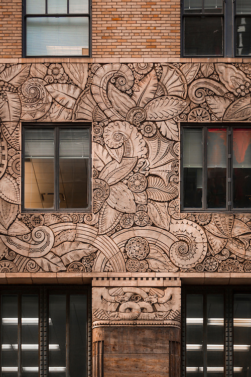 Terra cotta bas relief on the 42nd Stret facade of the Chanin Building