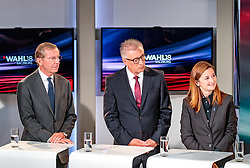22.04.2018, Wahlzentrum, Salzburg, AUT, Salzburger Landtagswahl, im Bild ÖVP Spitzenkandidat Wilfried Haslauer, SPÖ Spitzenkandidat Walter Steidl, FPÖ Spitzenkandidatin Marlene Svazek // during the Salzburg state election 2018 in the election center in Salzburg, Austria on 2018/04/22. EXPA Pictures © 2018, PhotoCredit: EXPA/ JFK