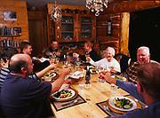 Dinner toast, Bob Griffin, Patty Park, Dan Dowd, Carl Dixon, Brian Dowd, Medeleine Kamman, Alan Kamman and Tom Dowd, Winterlake Lodge, Alaska.