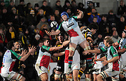 Wycombe, GREAT BRITAIN,   Harlequins' George ROBSON, ditributes the line out ball, during the London Wasps vs Harlequins match, at Adam's Park Stadium, Bucks on Sun 04.01.2009. [Photo, Peter Spurrier/Intersport-images]