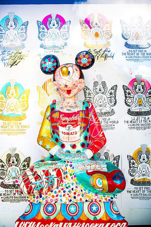 Mickey Mouse as a pop art Buddha in an installation at a Wynwood art gallery.