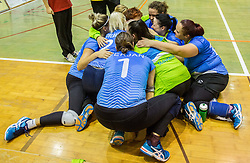 Players of Slovenia celebrate during friendly Sitting Volleyball match between National teams of Slovenia and China, on October 22, 2017 in Sempeter pri Zalcu, Slovenia. (Photo by Vid Ponikvar / Sportida)