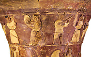 Hüseyindede vases, Old Hittite Polychrome Relief vessel, top frieze depicting a procession of musicians and dancers, , 16th century BC. . Çorum Archaeological Museum, Corum, Turkey. Against a white bacground. .<br /> <br /> If you prefer to buy from our ALAMY STOCK LIBRARY page at https://www.alamy.com/portfolio/paul-williams-funkystock/hittite-art-antiquities.html  - Huseyindede into the LOWER SEARCH WITHIN GALLERY box. Refine search by adding background colour, place, museum etc<br /> <br /> Visit our HITTITE PHOTO COLLECTIONS for more photos to download or buy as wall art prints https://funkystock.photoshelter.com/gallery-collection/The-Hittites-Art-Artefacts-Antiquities-Historic-Sites-Pictures-Images-of/C0000NUBSMhSc3Oo