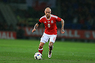David Cotterill of Wales in action. Wales v Northern Ireland, International football friendly match at the Cardiff City Stadium in Cardiff, South Wales on Thursday 24th March 2016. The teams are preparing for this summer's Euro 2016 tournament.     pic by  Andrew Orchard, Andrew Orchard sports photography.
