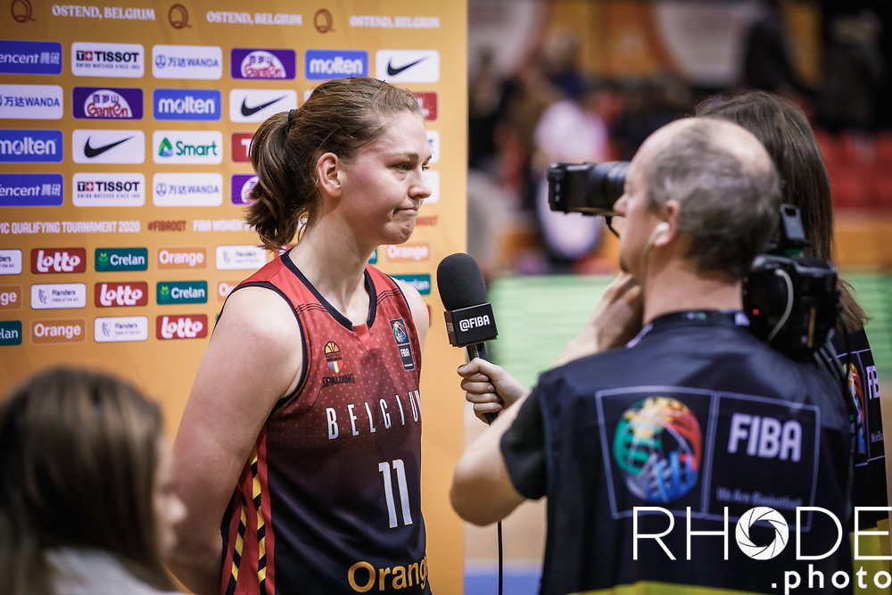 Emma Meesseman (BEL)    post game interview <br /> <br /> Day 1 – CANADA (CAN) vs BELGIUM (BEL): 61-56<br /> <br /> FIBA Women's Olympic Qualifying Tournament 2020 – Ostend,  Belgium<br /> Ostend Versluys Dôme (BEL)<br /> <br /> ©RhodePhotoMedia
