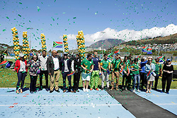 Monday 17th October 2016.<br /> Grand Parade & Greenpoint Athletics Stadium, Cape Town,<br /> Western Cape, South Africa.<br /> <br /> Cape Town Honours South African Olympic And Paralympic Heroes<br /> <br /> South African Olympic and Paralympic heroes stand for a team photo together during the event at Greenpoint Athletics Stadium.<br /> <br /> Cape Town honours the South African Olympic and Paralympic heroes during a special celebratory event held in Cape Town, Western Cape, South Africa on Monday 17 October 2016.<br /> <br /> Picture By: Mark Wessels / Real Time Images.