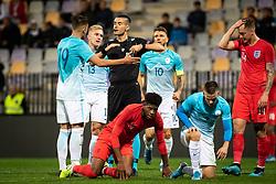 Players of Slovenia complaining to the reffereeduring friendly Football match between U21 national teams of Slovenia and England, on October 11, 2019 in Ljudski Vrt, Maribor, Slovenia. Photo by Blaž Weindorfer / Sportida