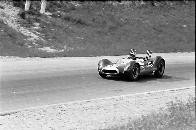 """Bruce McLaren wins 1964 Players 200 at Mosport in the Cooper-Oldsmobile that Bruce and his team called the Jolly Green Giant; originally a crashed F1 Cooper, it was turned by Roger Penske in to his infamous center-seat Zerex Spl. """"sports car"""" before McLaren rebuilt it to create his first McLaren; Pete Lyons photo"""