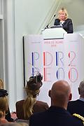 Koningin Maxima aanwezig bij Prix de Rome 2013. De Prix de Rome is de oudste en meest genereuze prijs voor jonge kunstenaars en architecten (tot 40 jaar) in Nederland. <br /> <br /> Queen Maxima attended Prix de Rome in 2013. The Prix de Rome is the oldest and most generous prize for young artists and architects (under 40 years) in the Netherlands.<br /> <br /> Op de foto / On the photo:  minister Jet Bussemaker van OCW