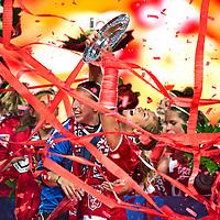 The Netherlands, Enschede, 12-05-2011.<br /> Football, Eredivisie, women.<br /> FC Twente - Willem II : 4-1.<br /> FC Twente is the new dutch  national women football champion.<br /> Ashley Nick, Americain captain of FC Twente holds the trophy. <br /> Photo: Klaas Jan van der Weij
