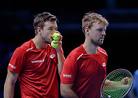Tennis - 2019 Nitto ATP Finals at The O2 - Day Six<br /> <br /> Doubles Group Max Mirnyi: Juan Sebastien Cabal (COL) & Robert Farah (CAN) Vs. Kevin Krawietz (GER) & Andreas Mies (GER)<br /> <br /> Andreas Mies (GER) and Kevin Krawietz (GER) discuss tactics <br /> <br /> <br /> COLORSPORT/DANIEL BEARHAM