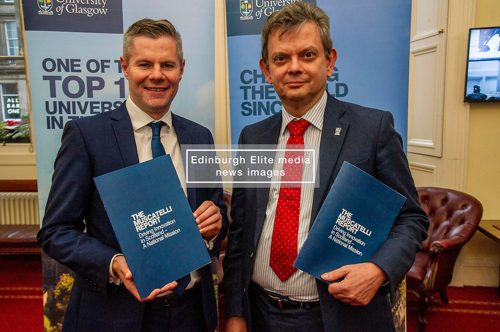 Pictured: Professor Sir Anton Muscatelli and Finance Secretary Derek Mackay<br /><br />Professor Sir Anton Muscatelli was joined by Finance Secretary Derek Mackay as he launched his report on how Scotland's higher education sector can maximise its impact on economic growth. Commissioned by Mr Mackay, the report will make recommendations for the sector, industry, the Scottish Government and its agencies<br /><br /> Ger Harley | EEm 27 November 2019
