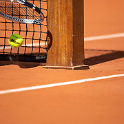PARIS, FRANCE September 26.  An official Wilson tennis match ball at the net on Court Philippe-Chatrier during the 2020 French Open Tennis Tournament at Roland Garros on September 26th 2020 in Paris, France. (Photo by Tim Clayton/Corbis via Getty Images)