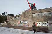 Stalinist architecture in Letna Park (Letenske Sady), on 18th March, 2018, in Prague, the Czech Republic. Up until it was destroyed by Soviet leader Nikita Kruschev, the largest statue to Stalin in the entire Eastern Bloc was located here. It is now a favourite place skateboard park, dog walkers and families.