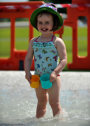 © licensed to London News Pictures. LONDON, UK.  27/06/11.Olivia Scanlon aged 2 enjoys the Diana, Princess of Wales Memorial Fountain (currently undergoing maintenance) Londoners cool off and enjoy the hot weather in london today (27 June2011). Mandatory Credit Stephen Simpson/LNP