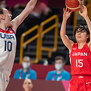 TOKYO, JAPAN August 8:   Nako Motohashi #15 of Japan shoots while defended by Breanna Stewart #10 of the United States during the Japan V USA basketball final for women at the Saitama Super Arena during the Tokyo 2020 Summer Olympic Games on August 8, 2021 in Tokyo, Japan. (Photo by Tim Clayton/Corbis via Getty Images)