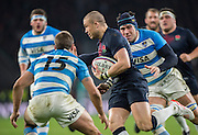 Twickenham, United Kingdom. England full back, Mike BROWN, running, through the Argentian mid field, during the Old Mutual Wealth Series Rest Match: England vs Argentina, at the RFU Stadium, Twickenham, England, <br /> <br /> Saturday  26/11/2016<br /> <br /> [Mandatory Credit; Peter Spurrier/Intersport-images]