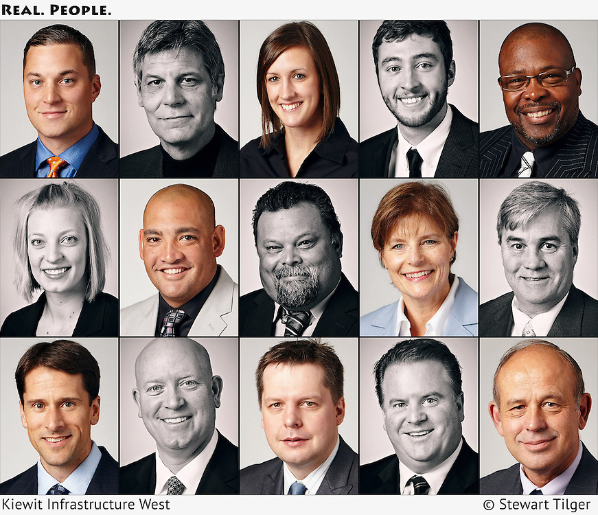 Corporate portraits of Kiewit Infrastructure employees.