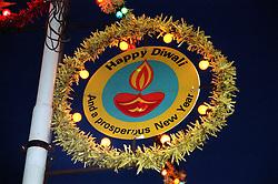Street sign celebrating Diwali; festival of light,
